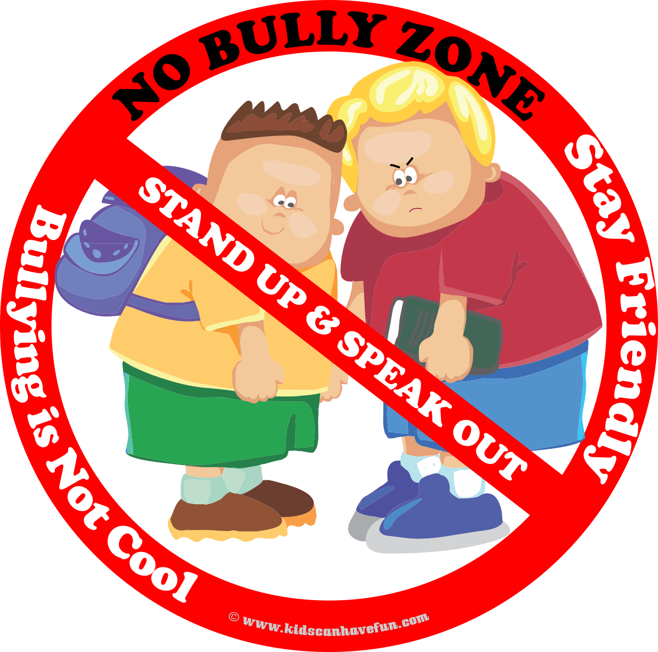 No Bully Zone Poster To Hang Up At School Home Or Daycare