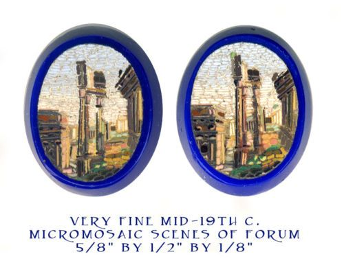 Image Copyright RC Larner ~ Fine Quality Mid-1800s Micromosaic of Roman Forum on Blue Glass--Pair ~ R C Larner Buttons at eBay & Etsy http://stores.ebay.com/RC-LARNER-BUTTONS