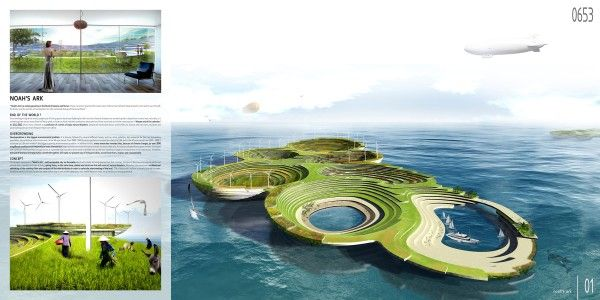 Noah's Ark is a self-sustainable city on the water that can support all living species, from humans to animals and fish to plants and trees, that have been evicted from land by natural disasters, warfare, whatever disasters the end days may bring.
