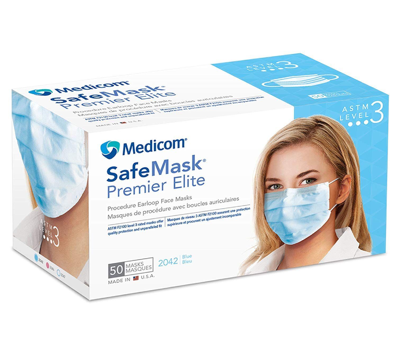 Medicom 2042 SafeMask Premier Elite Earloop Masks, Blue (Pack of 50)