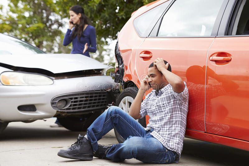 Male Driver Making Phone Call After Traffic Accident Aff