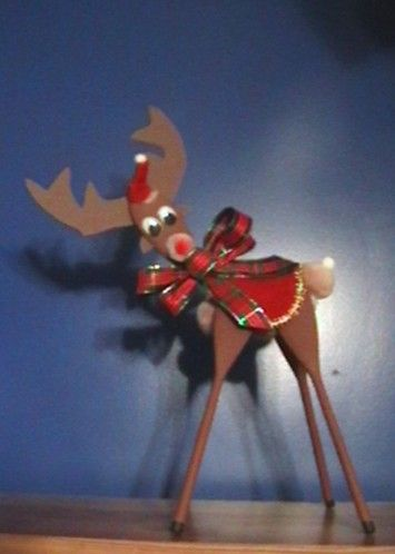 crafts x5 Christmas wooden reindeer gift