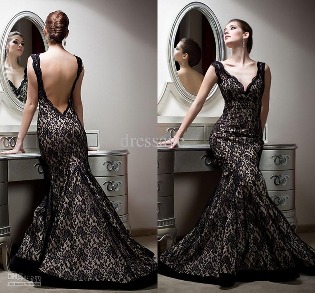 Wholesale Prom Dress - Buy 2014 Designer New Prom Dresses V Neck Black Lace Long Backless Mermaid Evening Pageant Dresses For Women P21, $143.37 | DHgate