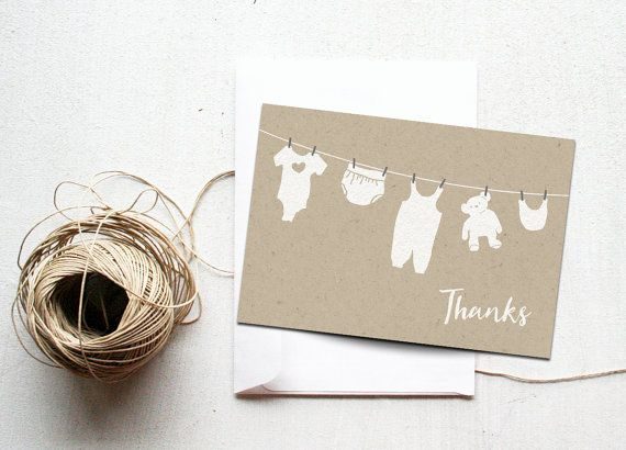 Baby Shower Thank You Card Printable Instant Download Diaper