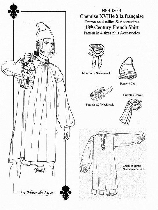 Mid Nfh18001 Pattern 18th Style French Century Men's Shirt L5RAq34j