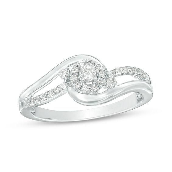 Zales 1/6 CT. T.w. Diamond Swirl Frame Promise Ring in 10K White Gold VNh79x