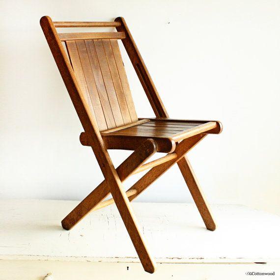 Vintage Wood Folding Chair   Wood Slats   All Solid Hardwood   Peerless  Folding Furniture