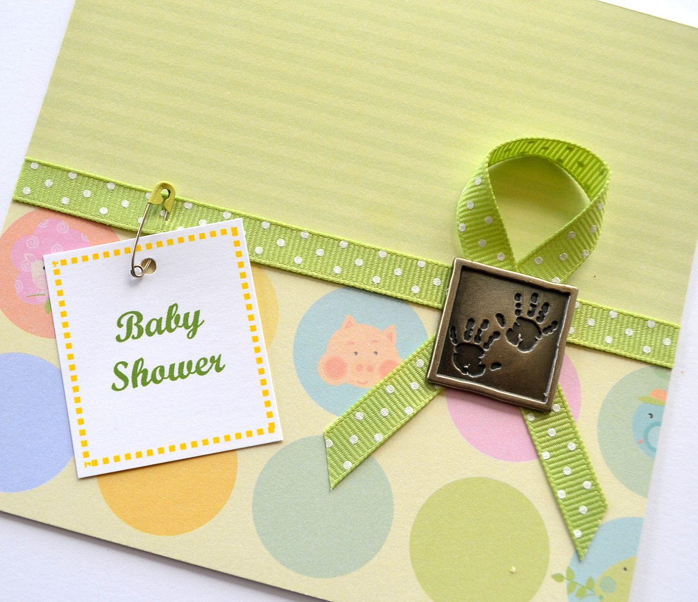 Baby scrapbook ideas uk - Baby Shower Handmade Card Unisex New Baby