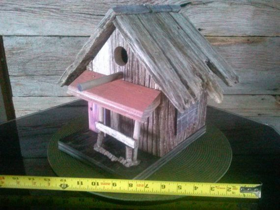 """Bird house or rustic home decor. 11"""" high, 10"""" deep, 12"""" wide. Made from 120 old Amish reclaim barn wood from Indiana . 1 1/4"""" bird hole"""