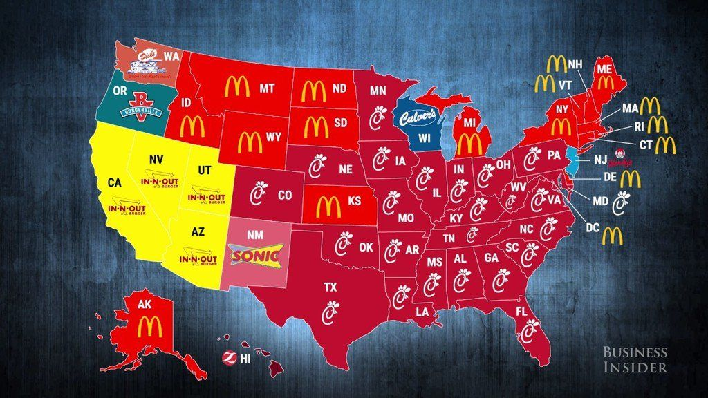 Most popular fast food restaurants by US state. Fast