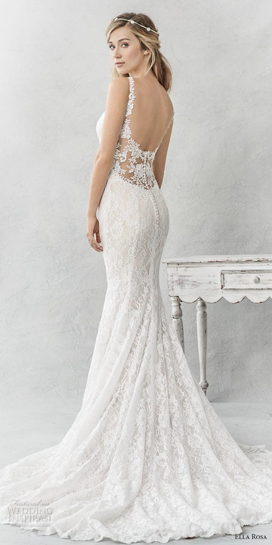 Fit and flare lace wedding dress  Ella Rosa spring  bridal sleeveless thin strap sweetheart