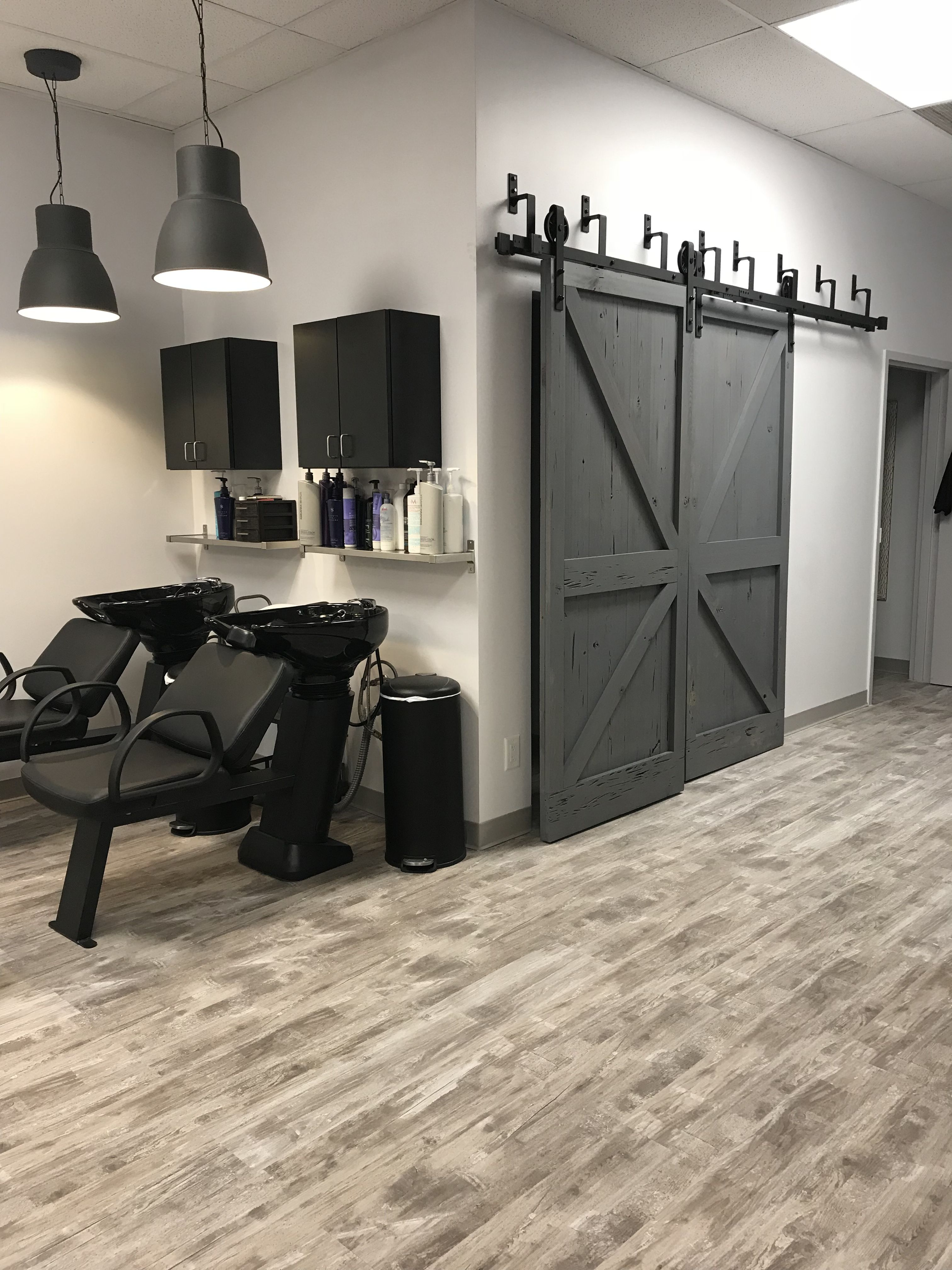 HT salon barn doors u0026 shampoo area