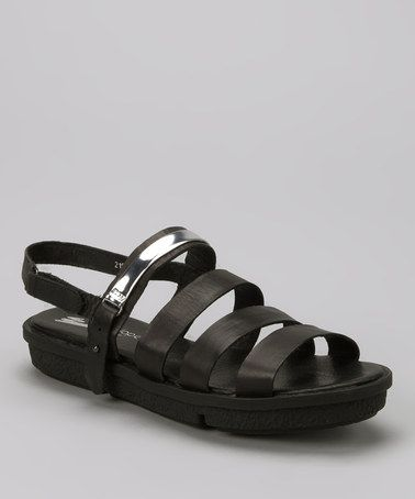 Take a look at this Black & Silver Strap Sandal by Antelope on #zulily today!