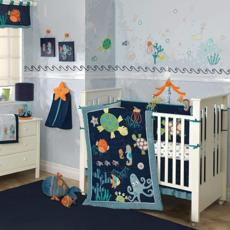 Colorful Blue Ocean Sea Life Baby Boy Nursery 5pc Crib Bedding Set W Turtles Lambsivy