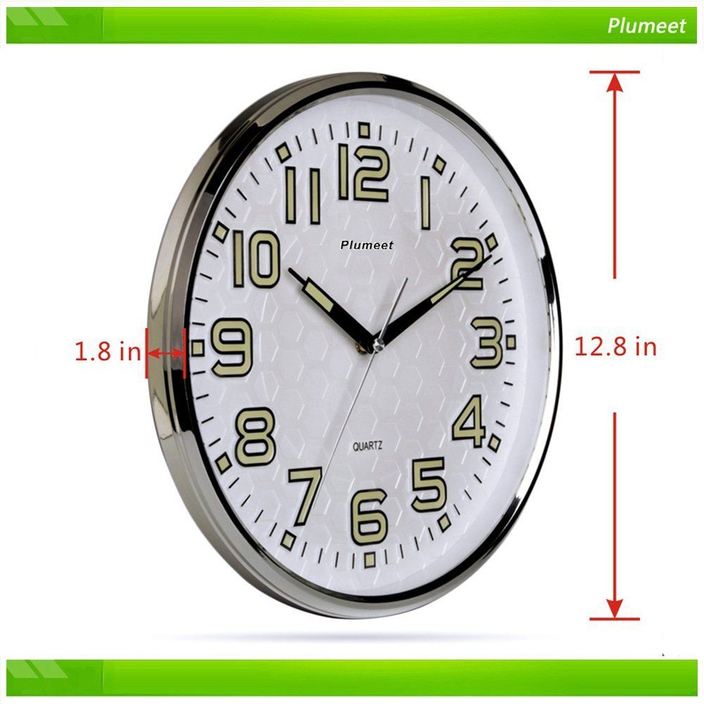 Amazon Com Plumeet Non Ticking Silent Wall Clock With Night Lights Function Large Wall Clock Indoor Clock With Large Numb Wall Clock Clock Large Wall Clock