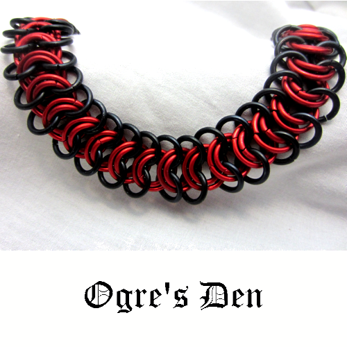 """Red and black lightweight and hypoallergenic chainmaille necklace. 