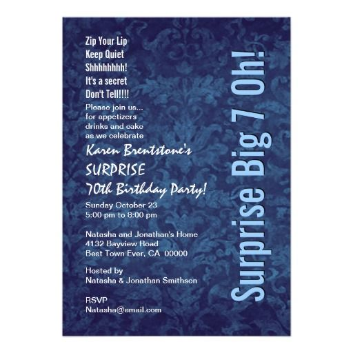 SURPRISE 70th Birthday Blue Damask White W1467 Cards