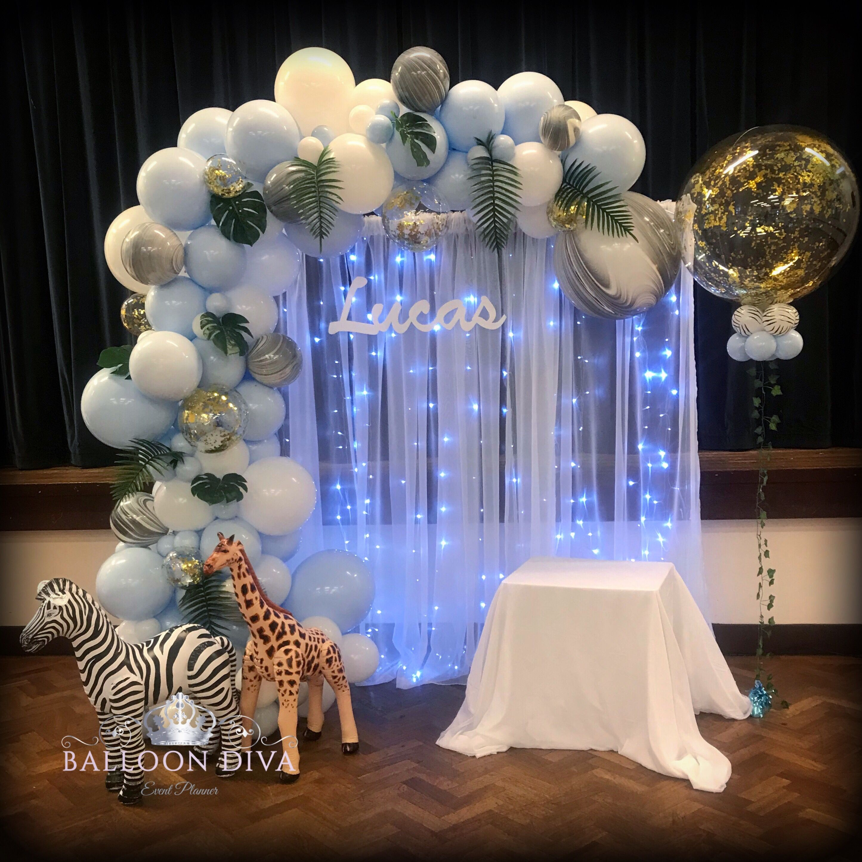 Jungle Themed Backdrop Baby Shower Balloons Boy Baby Shower