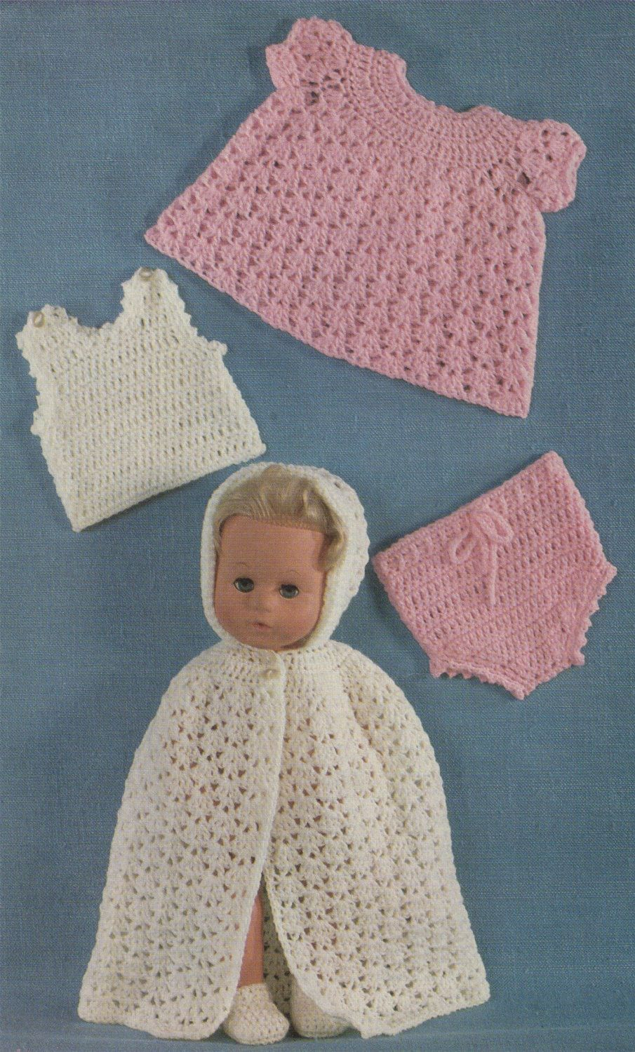 Dolls Clothes Pdf Crochet Pattern 14 Inch High Dolly Chest 11 Inch Tiny Tears Doll Outfit P Vintage Crochet Patterns Crochet Patterns Baby Doll Clothes