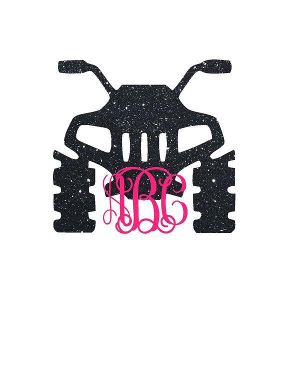 Four wheeler monogram decal atv decal by customcreationsbycp