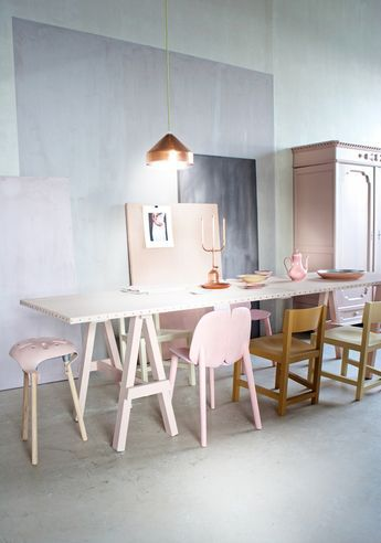 Dining room with pastels and copper lamp #pink #purple #nudes