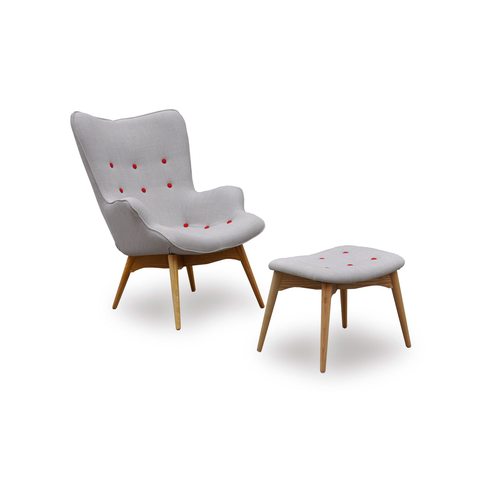 Paddington Chair and Ottoman Set with Red Buttons | dotandbo.com ...