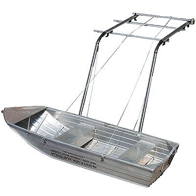 Boat Loader Uses Battery Drill To Lift And Lower A Boat To And From Roof Rack Way Cool From Rhino Rack Roof Rack Car Roof Racks Boat Stuff
