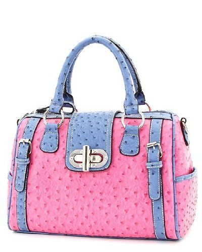 d95127b66d00 Faux OSTRICH Leather Handbag PINK BLUE Purse ~ Designer Inspired ...