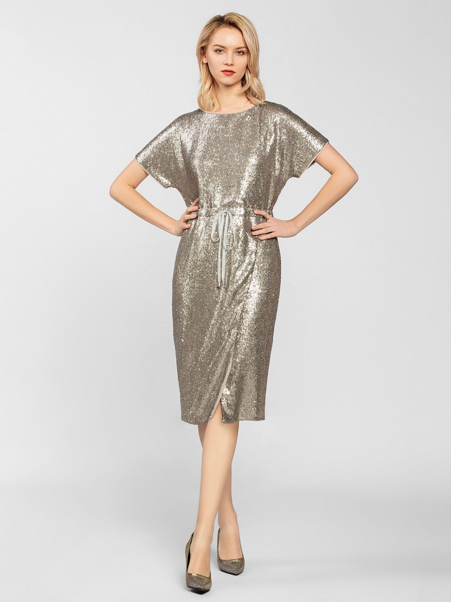 APART Paillettenkleid Damen, Silber, Größe 20  Pailletten kleid