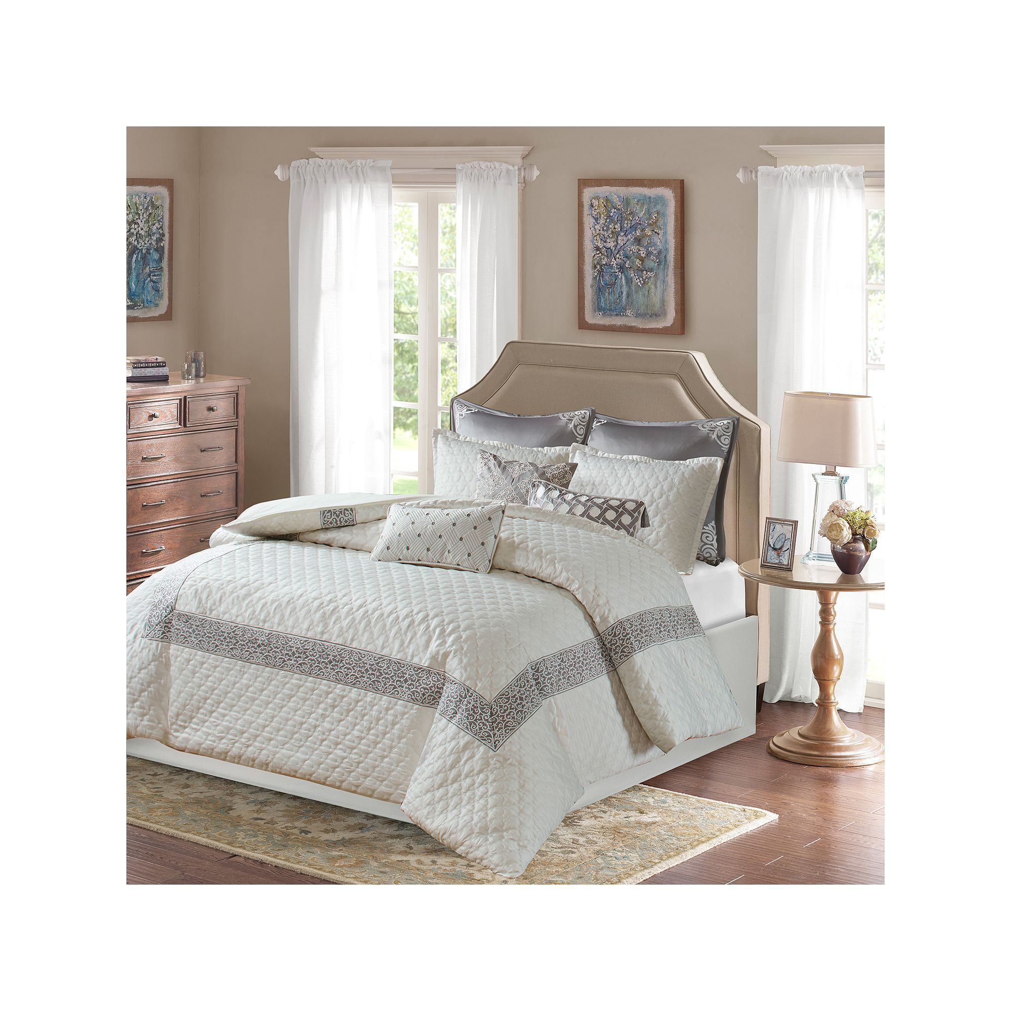 embroidered collection bedding design frame khloe intelligent comforter piece metallic printed brilliant silver popular for hotel intended aqua created