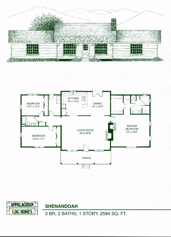 Shenandoah 3 Bed 2 Bath 1 Story 2584 Sq Ft Appalachian Log Timber Homes Hybrid Home Flo Floor Plans Ranch Log Home Floor Plans Farmhouse Floor Plans