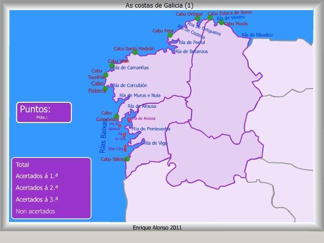 Costa De Galicia Mapa.Mapa Interactivo De Galicia Costas De Galicia Onde Esta