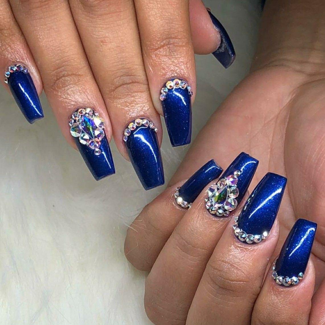 Blue Nails. Acrylic Nails. Tapered Square Nails. Nails ...