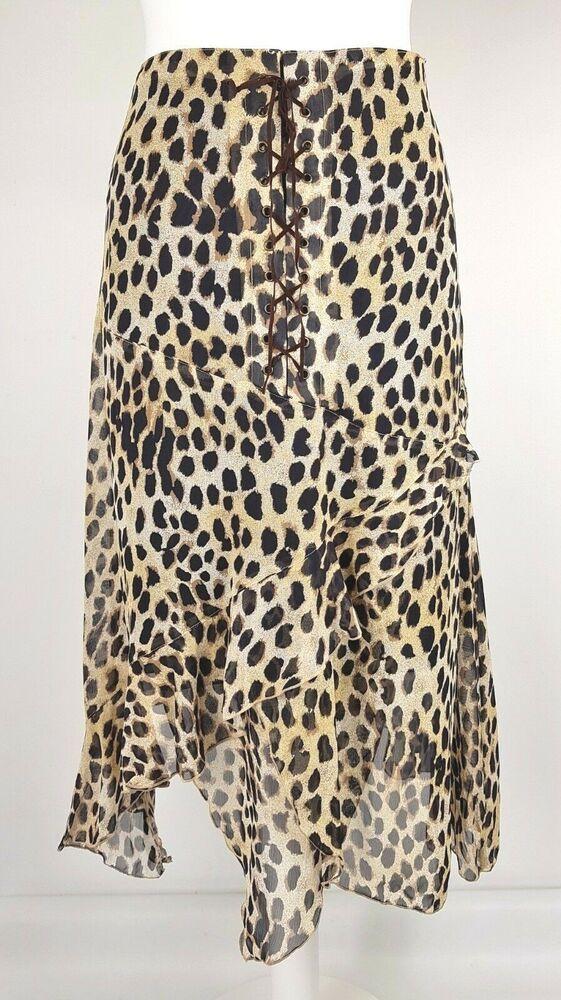 70eab6d3b3 Animal Leopard Print Tiered Drape Midi Skirt Front Tie Size 40 UK 14 ...