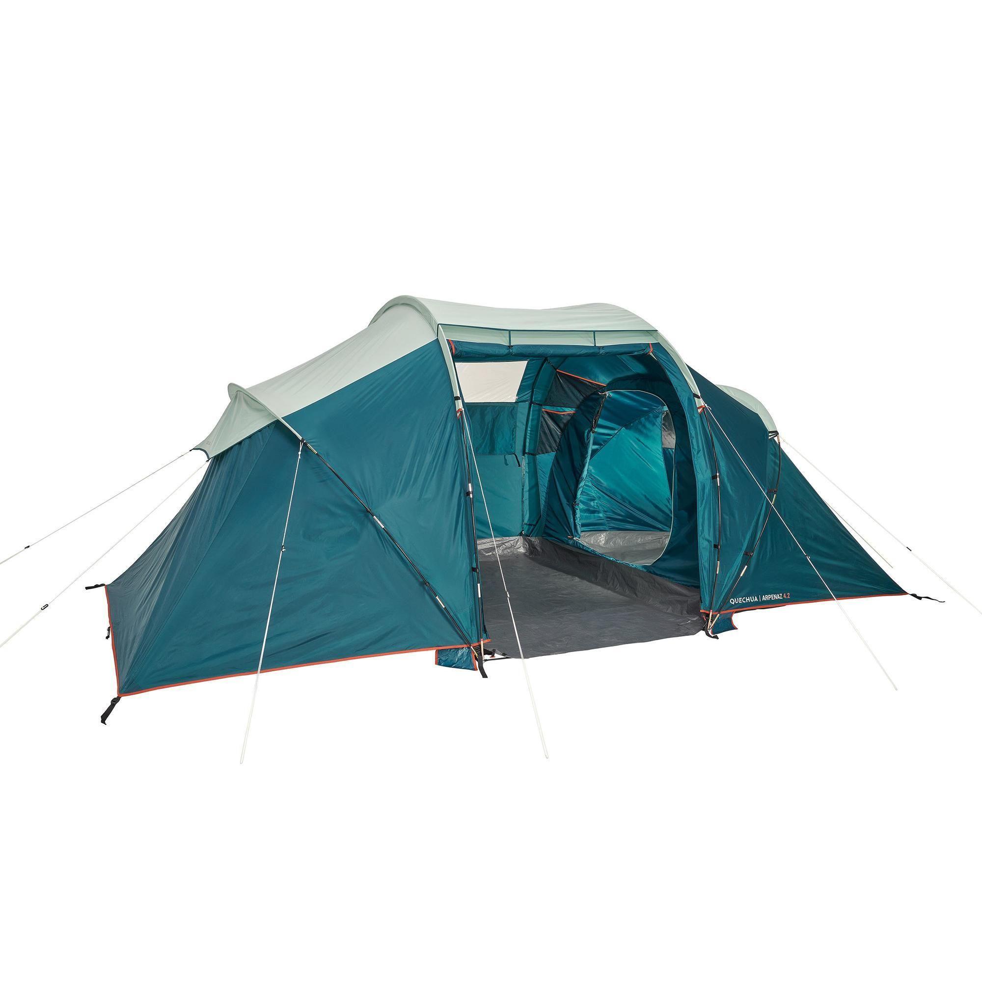 Tienda De Campaña Familiar Camping Quechua Arpenaz 4 2 4 Personas Upf30 Tent Kamperen Opbergzak