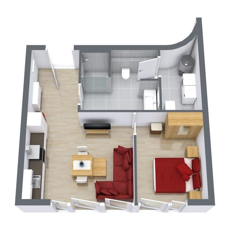 Floor Plan Of Our Cozy 1 Bedroom Serviced Apartment In Stuttgart Apartment Bedroom Serviced Apartments