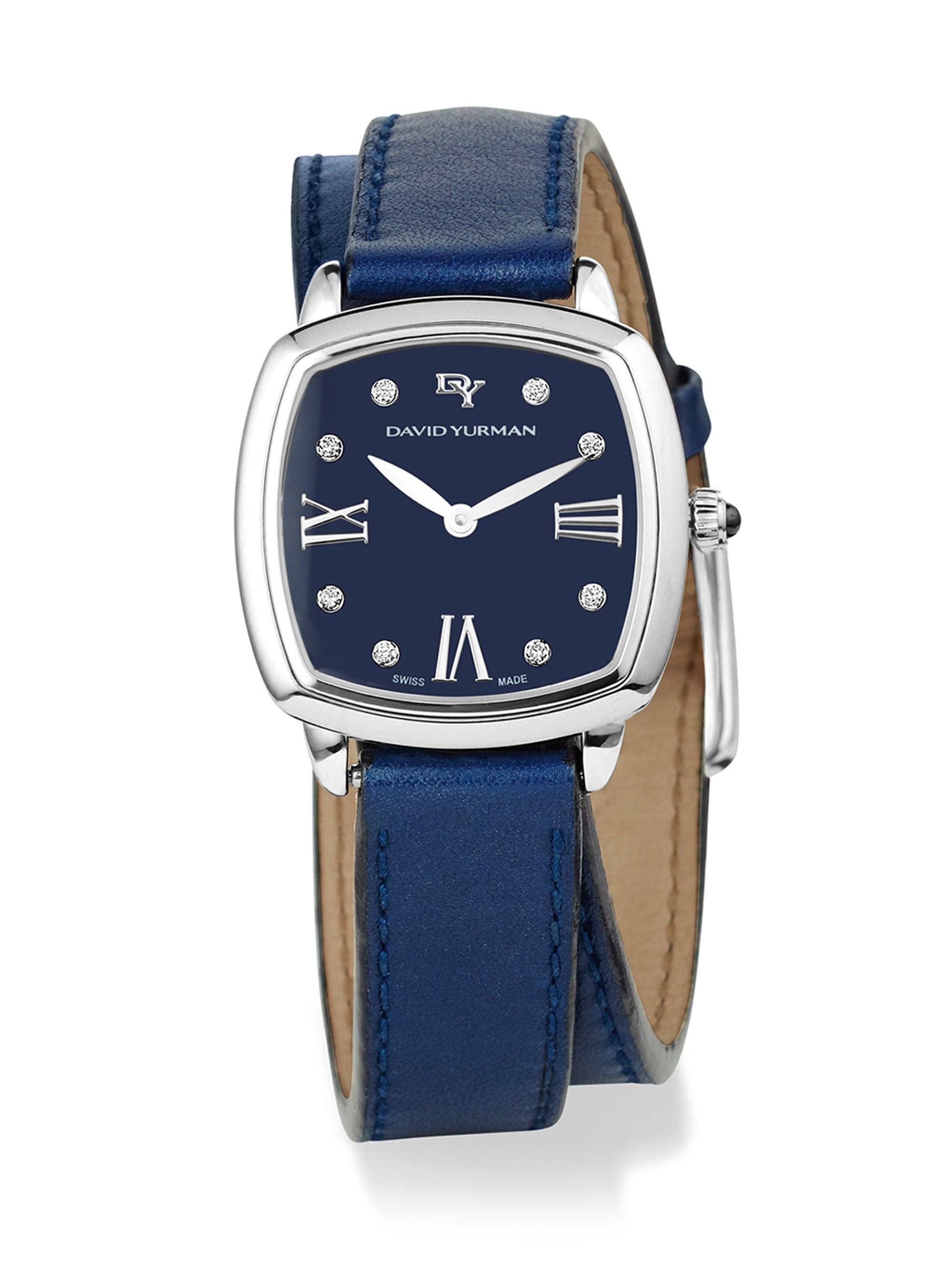 eecb38574 David Yurman Albion 27Mm Leather Swiss Quartz Watch With Diamonds - Black White  Medium Blue