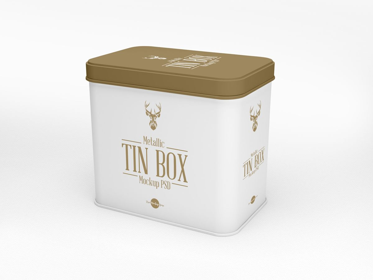 Download Free Metallic Tin Box Mockup Psd White Box Mockup Mockup Free Psd Mockup Psd