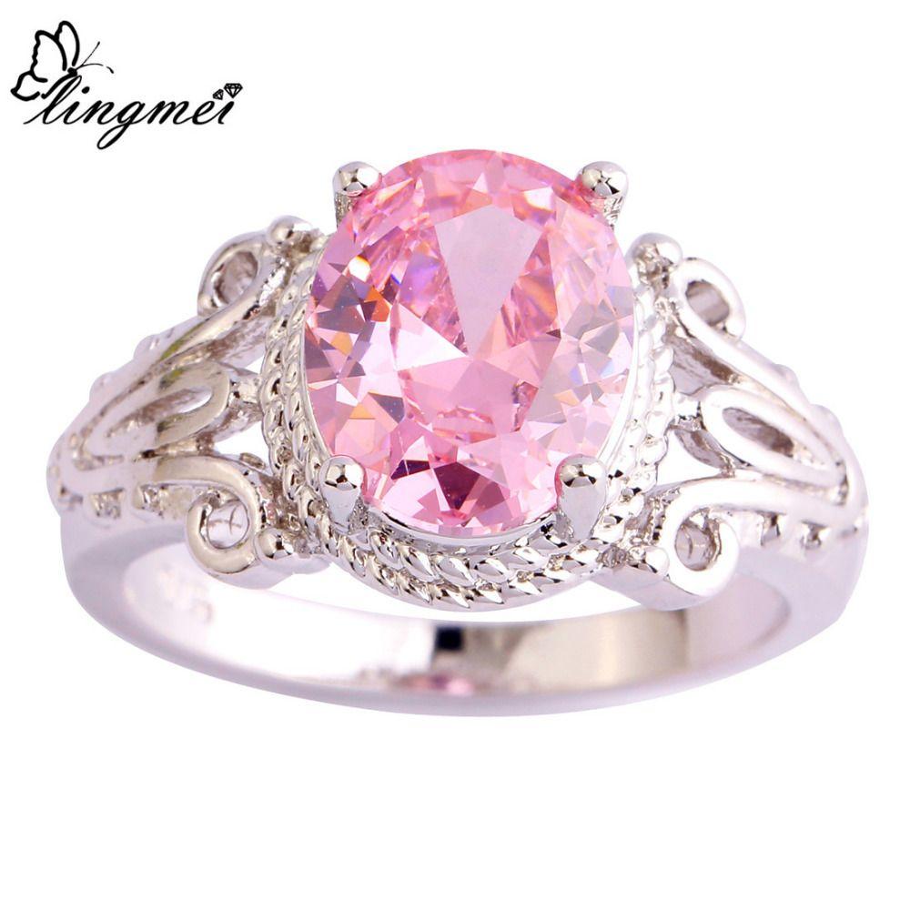 lingmei Gorgeous Lady Pink CZ Silver Color Ring Women Engagement ...