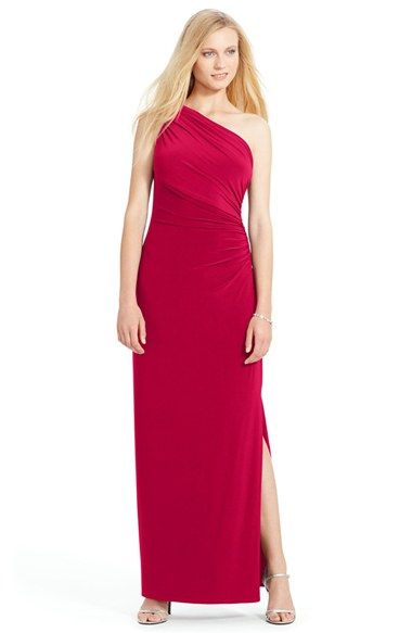 Lauren Ralph Lauren Ruched One-Shoulder Jersey Gown available at #Nordstrom