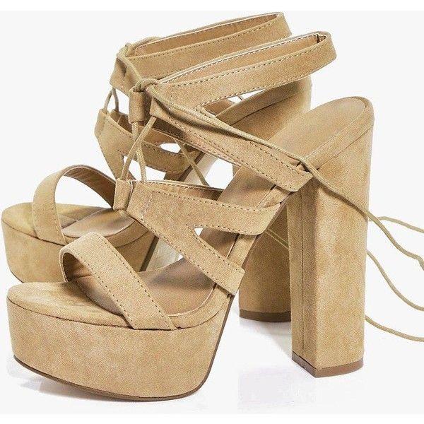 Boohoo Daisy Suedette Wrap Strap Platform Heels | Boohoo