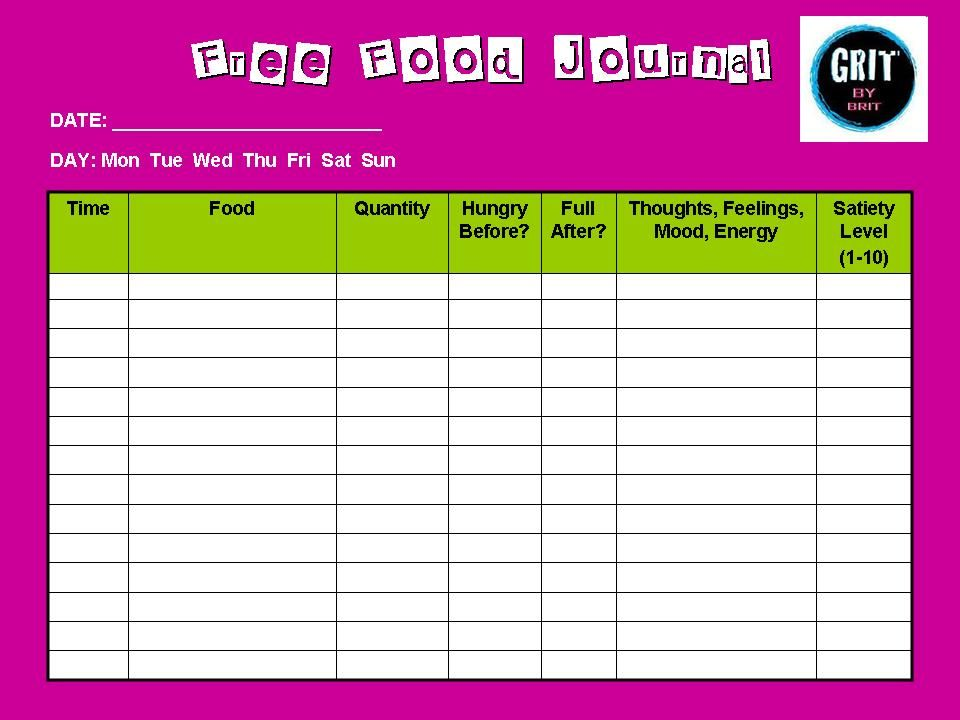 Free Food Journal To Keep You On Track On Turkey Day! No Added Pounds Here  Food Journal Template Free