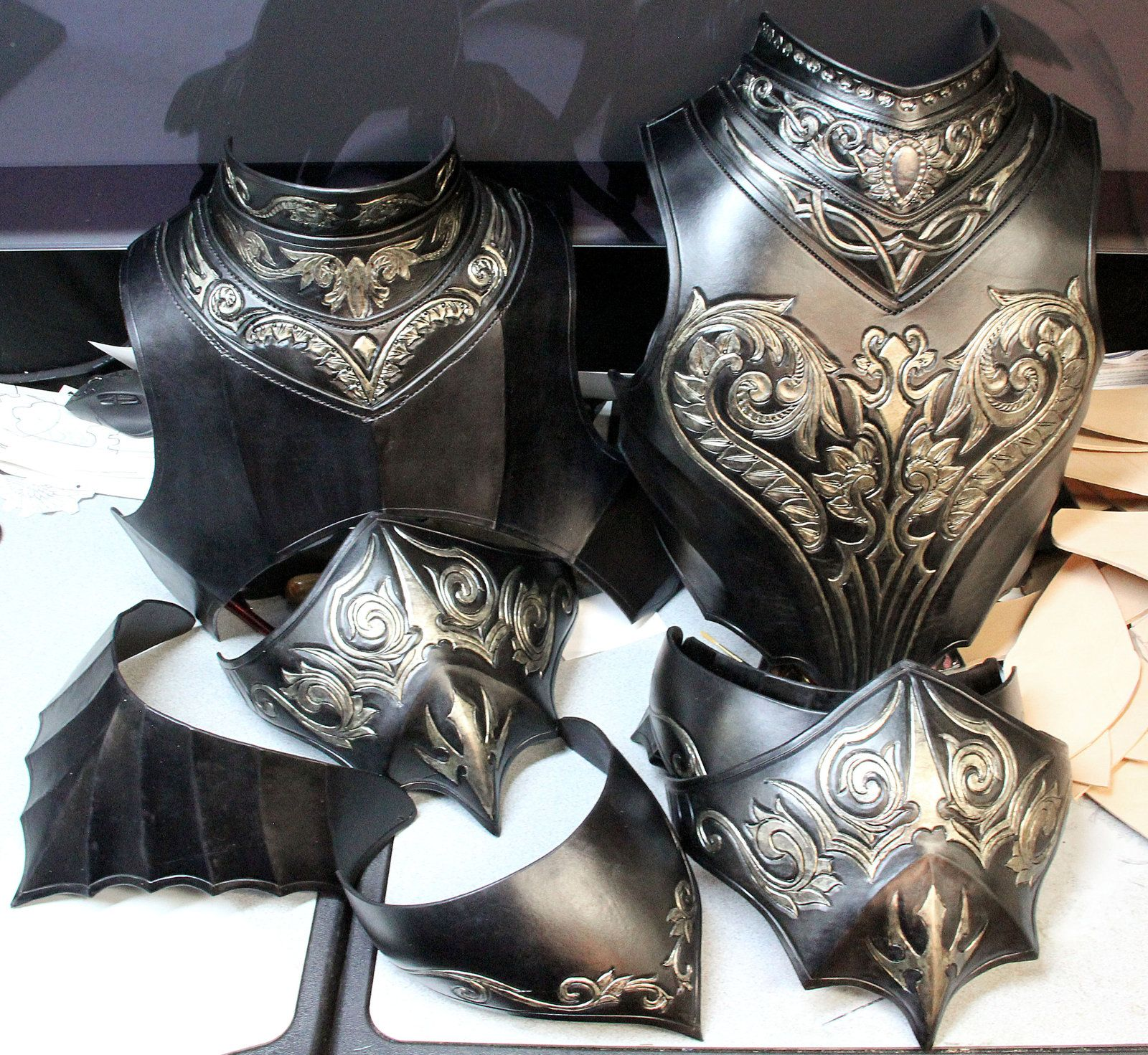 Black leather gloves dark souls - Part Of A Leather Armor Full Suit Inspired By Artorias From Dark Souls The