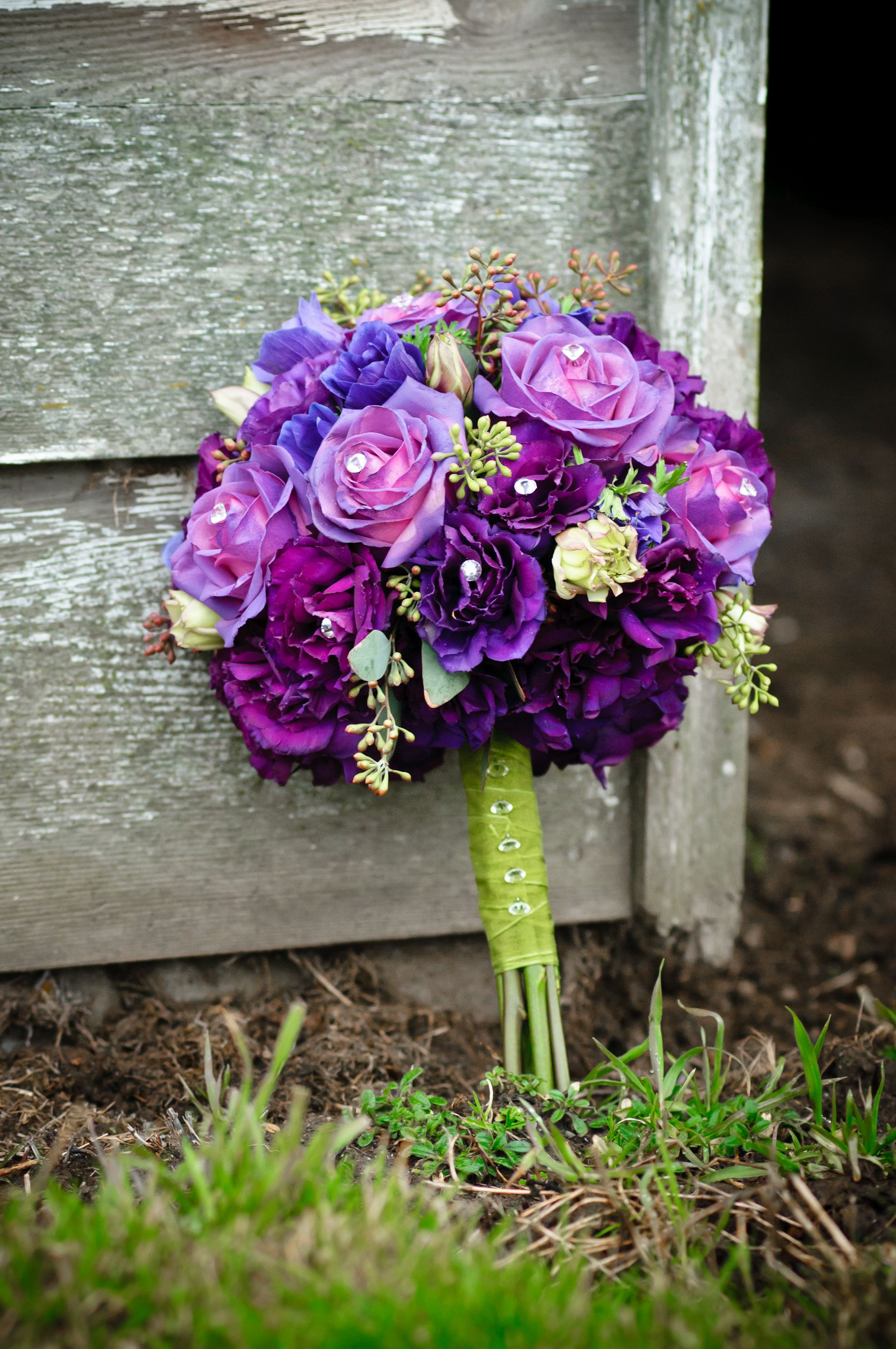Lime Green And Purple Wedding Flower Bouquet Bridal Bouquet