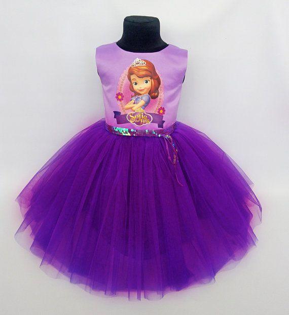 Princess Sofia birthday dress set Sofia Outfit Tulle birthday dress Sofia tutu dress Disney Princesses