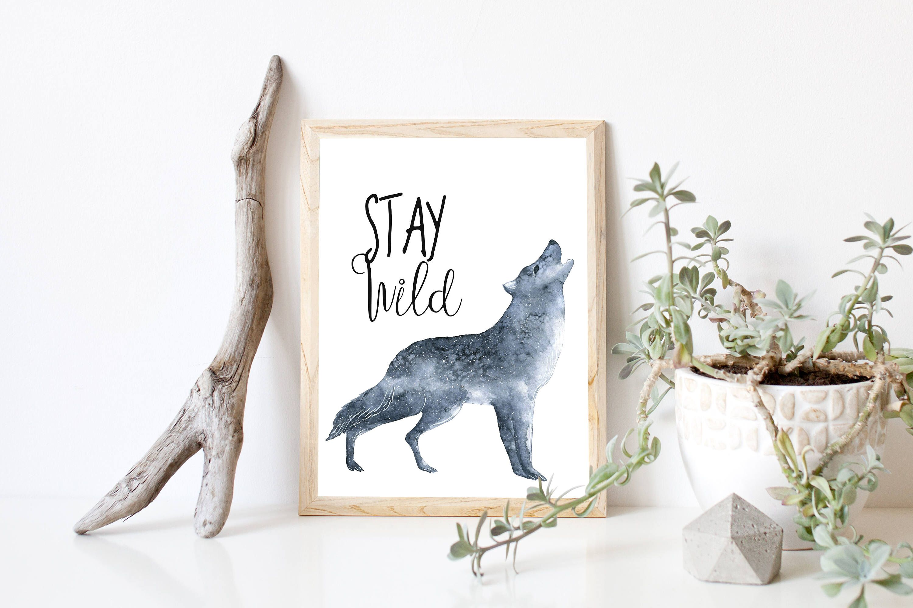 Stay Wild Baby T Wolf Watercolor Wolf Woodland
