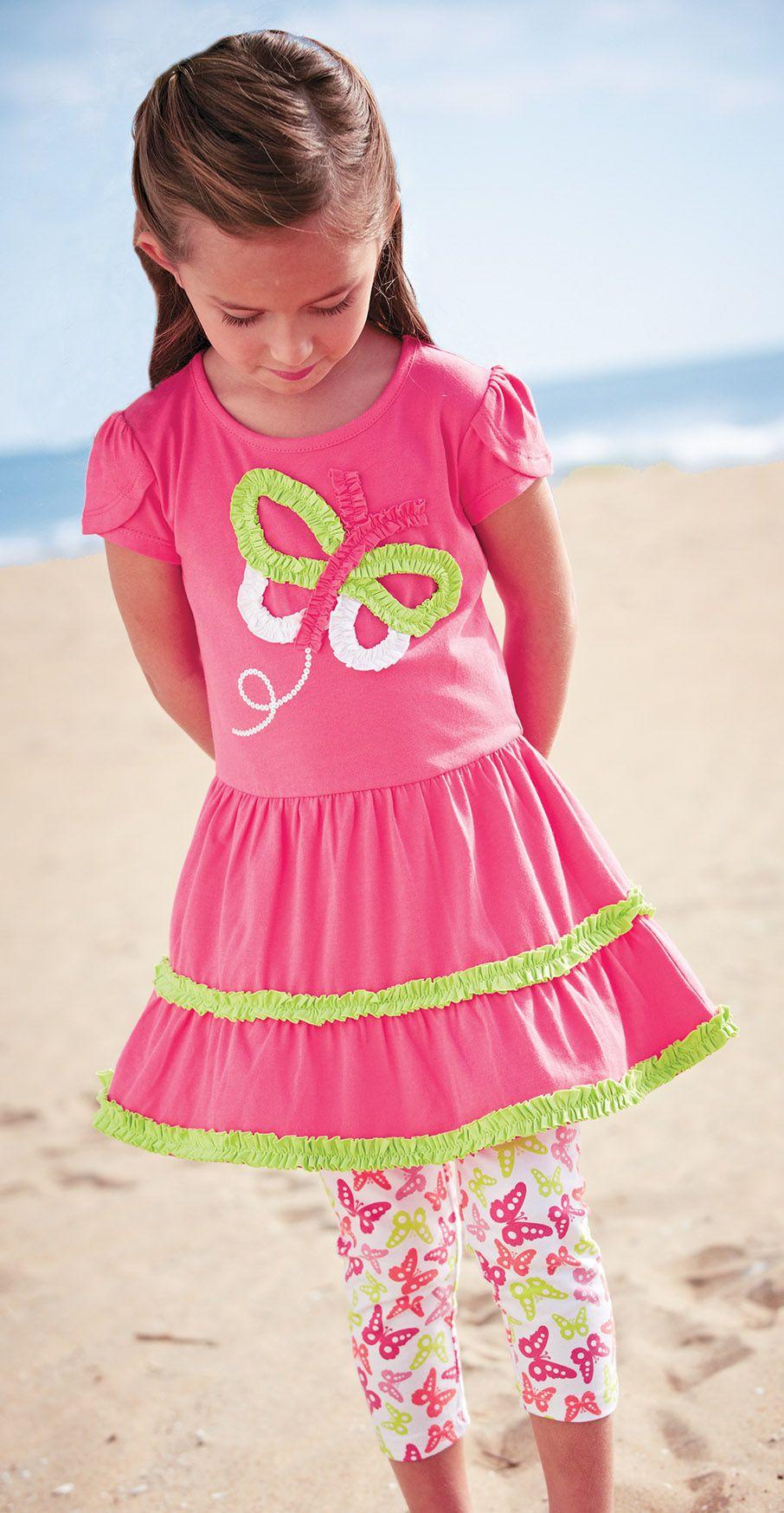 14593114c From CWDkids  Butterfly Dress   Capri Set.