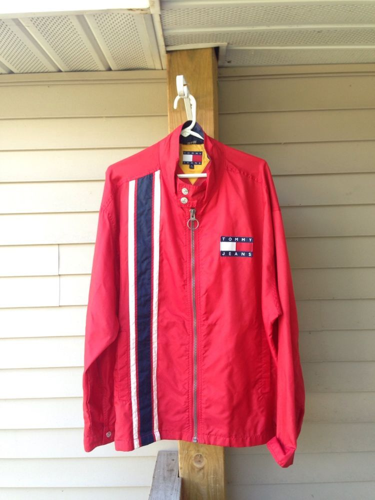 Vintage VTG Tommy Hilfiger Jeans red Windbreaker MENS Extra Large XL #TommyHilfiger #Windbreaker