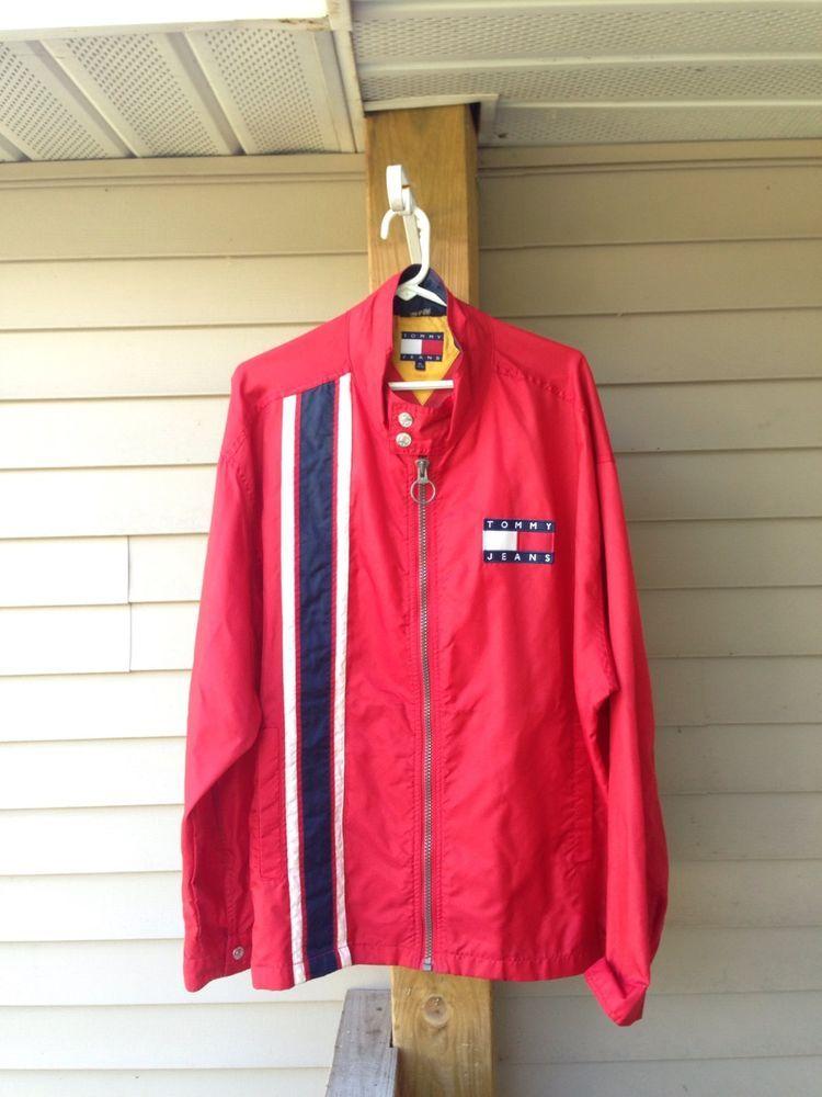 Vintage VTG Tommy Hilfiger Jeans red Windbreaker MENS Extra Large XL #TommyHilfiger #Windbreaker