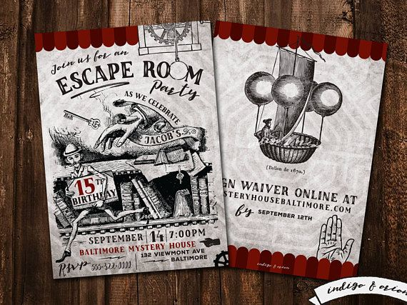 photo relating to Printable Escape Room Free known as Escape House Birthday Social gathering Invites, Escape celebration